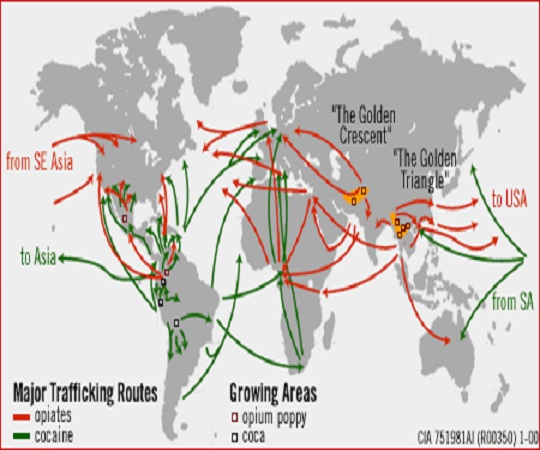 CIA Map of International drug pipelines