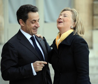 Hillary Clinton and Nicolas Sarkozy